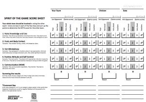 Spirit of the game scoring sheet 4 games 2014